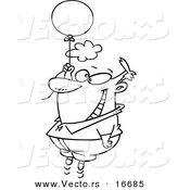 Vector of a Cartoon Happy Man Floating with a Balloon - Outlined Coloring Page Drawing by Toonaday