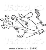 Vector of a Cartoon Happy Man Ripping off His Business Clothes for Spring Break - Coloring Page Outline by Ron Leishman