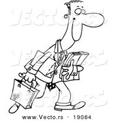 Vector of a Cartoon Happy Man Shopping - Outlined Coloring Page by Toonaday