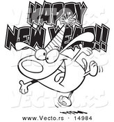 Vector of a Cartoon Happy New Year Dog - Coloring Page Outline by Toonaday