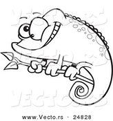 Vector of a Cartoon Happy Spotted Chameleon Lizard - Outlined Coloring Page by Toonaday