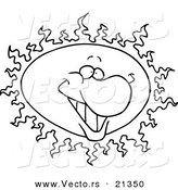 Vector of a Cartoon Happy Sun - Outlined Coloring Page by Ron Leishman