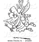 Vector of a Cartoon Happy Tooth Fairy Black and White Outline - Outlined Coloring Page by Toonaday