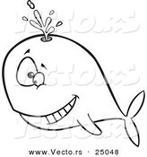 Vector of a Cartoon Happy Whale Spouting - Outlined Coloring Page by Toonaday