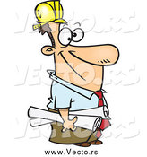 Vector of a Cartoon Happy White Male Construction Manager by Ron Leishman