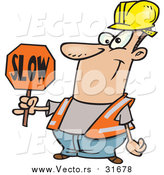 August 8th, 2015: Vector of a Cartoon Happy White Male Construction Worker Slowing down Traffic by Toonaday