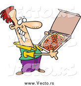 Vector of a Cartoon Happy White Man with Pizza by Ron Leishman