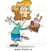 Vector of a Cartoon Happy White Woman Carrying a Birthday Cake with 21 Candles by Toonaday