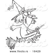 Vector of a Cartoon Happy Witch on Her Broomstick - Outlined Coloring Page Drawing by Toonaday