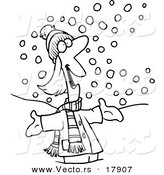 Vector of a Cartoon Happy Woman in the Snow - Outlined Coloring Page by Toonaday