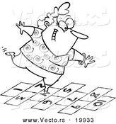 Vector of a Cartoon Happy Woman Playing Hopscotch - Outlined Coloring Page by Toonaday