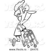 Vector of a Cartoon Healthy Granny Exercising with Her Walker - Outlined Coloring Page by Toonaday