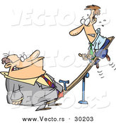 Vector of a Cartoon Heavyweight Caucasian Businessman on a See Saw with a Small Man at the Other End by Ron Leishman