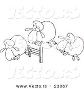 Vector of a Cartoon Herd of Sheep Leaping a Fence - Coloring Page Outline by Toonaday