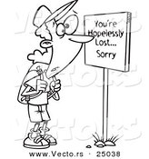 Vector of a Cartoon Hiker at a Youre Hopelessly Lost Sorry Sign - Outlined Coloring Page by Toonaday