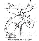 Vector of a Cartoon Hiking Moose Using a Walking Stick - Outlined Coloring Page by Ron Leishman
