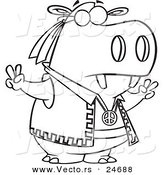Vector of a Cartoon Hippie Hippo Gesturing Peace - Outlined Coloring Page by Ron Leishman
