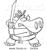 Vector of a Cartoon Hippo Ninja Black and White Outline - Outlined Coloring Page by Ron Leishman
