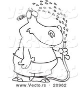 Vector of a Cartoon Hippo Spraying Himself with a Hose - Coloring Page Outline by Toonaday