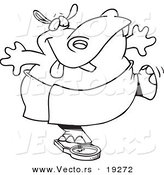 Vector of a Cartoon Hippo Trying to Deceive a Scale - Outlined Coloring Page by Toonaday