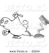 Vector of a Cartoon Hippo Walking Away from a Broken Scale - Outlined Coloring Page by Toonaday