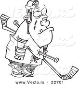 Vector of a Cartoon Hockey Player Getting a Penalty - Coloring Page Outline by Toonaday