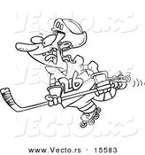 Vector of a Cartoon Hockey Player Skating - Coloring Page Outline by Toonaday