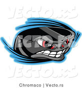Vector of a Cartoon Hockey Puck Mascot Gritting Teeth While Speeding Through Air by Chromaco