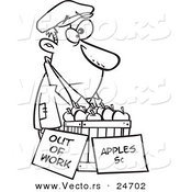 Vector of a Cartoon Homeless Man Trying to Sell Apples - Outlined Coloring Page by Toonaday