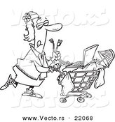 Vector of a Cartoon Homeless Woman Pushing a Laptop on Her Cart - Outlined Coloring Page by Toonaday