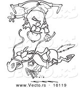 Vector of a Cartoon Horse Throwing a Rider - Outlined Coloring Page Drawing by Toonaday