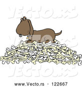Vector of a Cartoon Hound Dog Protecting Pile of Bones by Djart