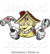 Vector of a Cartoon House Mascot Holding Hammer and Wrench by Chromaco