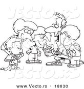 Vector of a Cartoon Huddled Family Reading a Football Play Book - Outlined Coloring Page by Toonaday