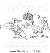 Vector of a Cartoon Huge Fly Behind a Man Swatting Flies - Coloring Page Outline by Toonaday