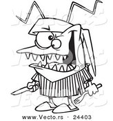 Vector of a Cartoon Hungry Bed Bug Holding Silverware - Outlined Coloring Page by Ron Leishman