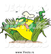 Vector of a Cartoon Hungry Chef Alligator in Grasses by Toonaday
