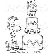 Vector of a Cartoon Hungry Guy Drooling over a 100 Birthday Cake - Coloring Page Outline by Toonaday