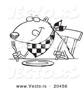 Vector of a Cartoon Hungry Muskrat at a Table - Coloring Page Outline by Toonaday