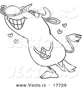 Vector of a Cartoon Infatuated Bull - Coloring Page Outline by Toonaday