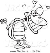 Vector of a Cartoon Infatuated Tortoise Holding Flowers - Outlined Coloring Page by Ron Leishman