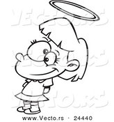 Vector of a Cartoon Innocent Angelic Girl with a Halo - Outlined Coloring Page by Toonaday