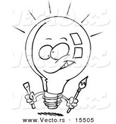 Vector of a Cartoon Innovative Light Bulb - Coloring Page Outline by Toonaday