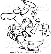 Vector of a Cartoon Irate Man Screaming into the Phone - Outlined Coloring Page by Toonaday