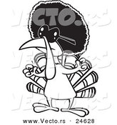 Vector of a Cartoon Jive Turkey Bird with an Afro - Outlined Coloring Page by Ron Leishman
