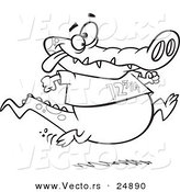 Vector of a Cartoon Jogging Alligator - Outlined Coloring Page by Toonaday
