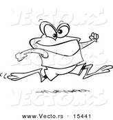 Vector of a Cartoon Jogging Frog - Coloring Page Outline by Toonaday