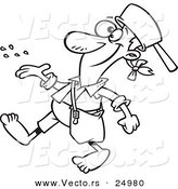 Vector of a Cartoon Johnny Appleseed Tossing Seeds - Outlined Coloring Page by Toonaday