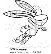 Vector of a Cartoon Jumping Plaid Easter Bunny - 1 - Coloring Page Outline by Ron Leishman