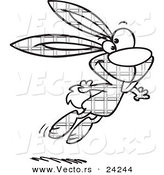 Vector of a Cartoon Jumping Plaid Easter Bunny - 2 - Outlined Coloring Page by Toonaday